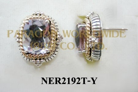 925 Sterling Silver &14K Earrings  Pink Amethyst - NER2192T