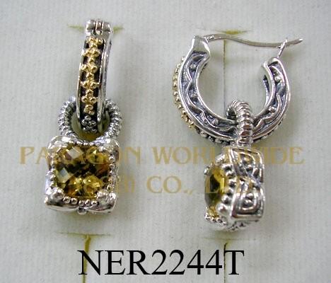 925 Sterling Silver & 14K Earrings  Citrine - NER2244T