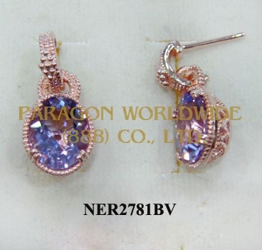 925 Sterling Silver Earrings Pink Amethyst - NER2781BV