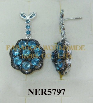 925 Sterling Silver Earrings  Light Swiss Blue Topaz - NER5797