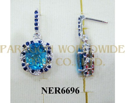 925 Sterling Silver Earrings Light Swiss Blue Topaz and Iolite - NER6696