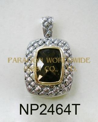 925 Sterling Silver & 14K  Pendant  Smoky Quartz - NP2464T