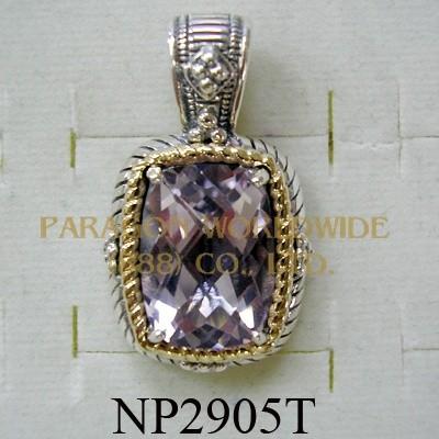 925 Sterling Silver & 14k Pendant  Pink Amethyst - NP2905T