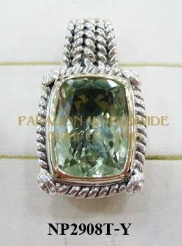 925 Sterling Silver &14K Pendant  Green Amethyst - NP2908T