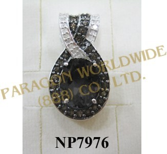 925 Sterling Silver Pendant  Smoky Quartz and White Diamond - NP7976