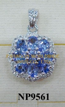 925 Sterling Silver Pendant  Tanzanite and White Topaz - NP9561
