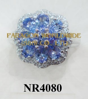 925 Sterling Silver Ring Tanzanite and White Topaz - NR4080