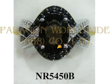 925 Sterling Silver Ring Smoky Quartz and White Diamond - NR5450B