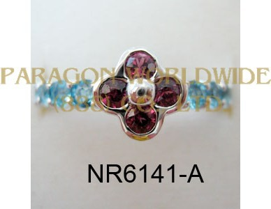 925 Sterling Silver Ring Rhodolite and Light Swiss Blue Topaz  - NR6141-A
