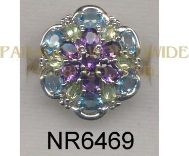 925 Sterling Silver Ring Light Swiss Blue Topaz + Amethyst and Peridot  - NR6469