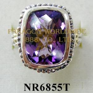 925 Sterling Silver & 14K Ring  Amethyst - NR6855T