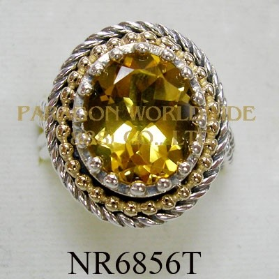 925 Sterling Silver & 14K Ring  Citrine - NR6856T