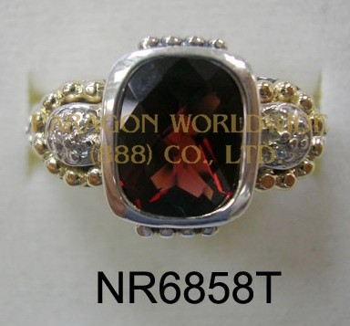 925 Sterling Silver &14K Ring Garnet  and White diamond - NR6858T