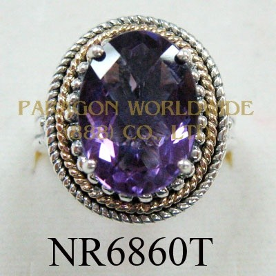 925 Sterling Silver & 14K Ring  Amethyst - NR6860T