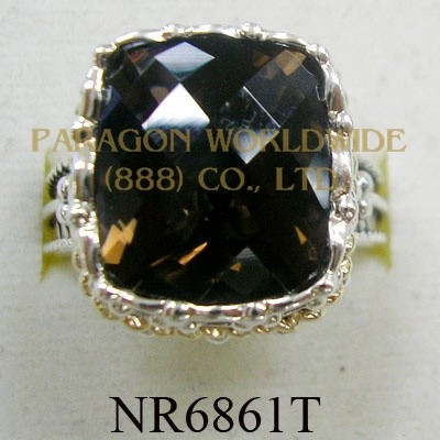 925 Sterling Silver & 14K Ring Smoky Quartz - NR6861T