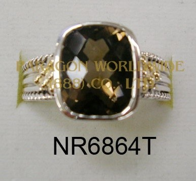 925 Sterling Silver & 14K Ring Smoky Quartz - NR6864T