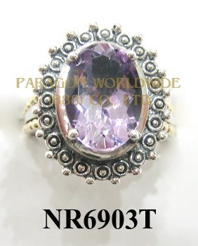 925 Sterling Silver &14K Ring Pink  Amethyst - NR6903T