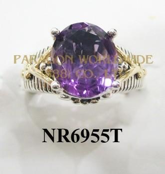 925 Sterling Silver &14K Ring Amethyst - NR6955T