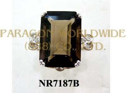 925 Sterling Silver Ring Smoky Quartz and White Diamond - NR7187B