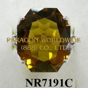 925 Sterling Silver Ring Cognac Quartz + White Topaz and White Diamond - NR7191C