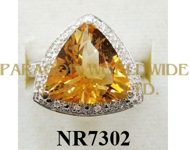 925 Sterling Silver Ring Citrine and White Diamond - NR7302