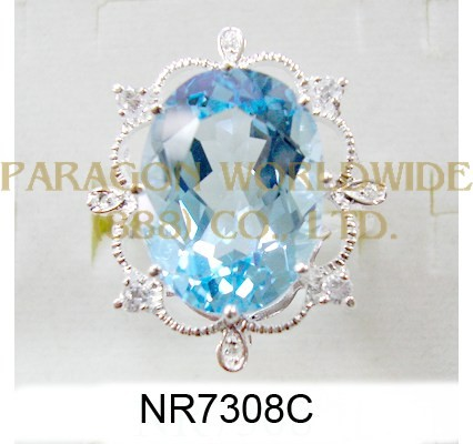 925 Sterling Silver Ring Sky Blue Topaz + White Topaz and White Diamond - NR7308C