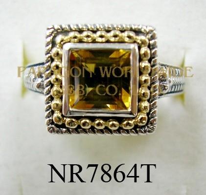 925 Sterling Silver & 14K Ring  Citrine - NR7864T