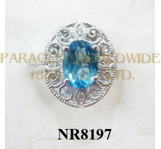 925 Sterling Silver Ring Light Swiss Blue Topaz and White Diamond - NR8197