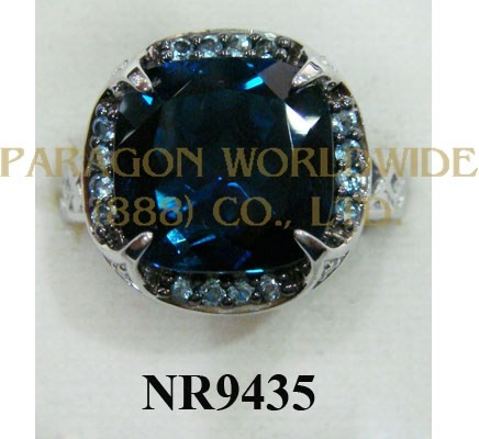 925 Sterling Silver Ring London Blue Topaz + Light Swiss Blue Topaz and White Diamond - NR9435
