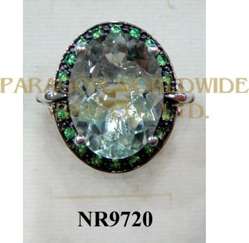 925 Sterling Silver Ring Green Amethyst and Tsavorite  - NR9720
