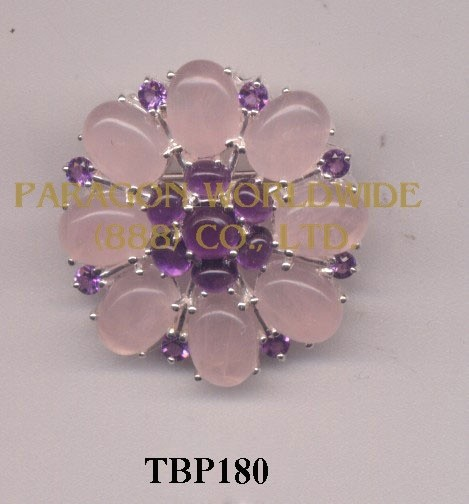 10K  Yellow Gold  Pin  Rose Quartz and Amethyst   - TBP180
