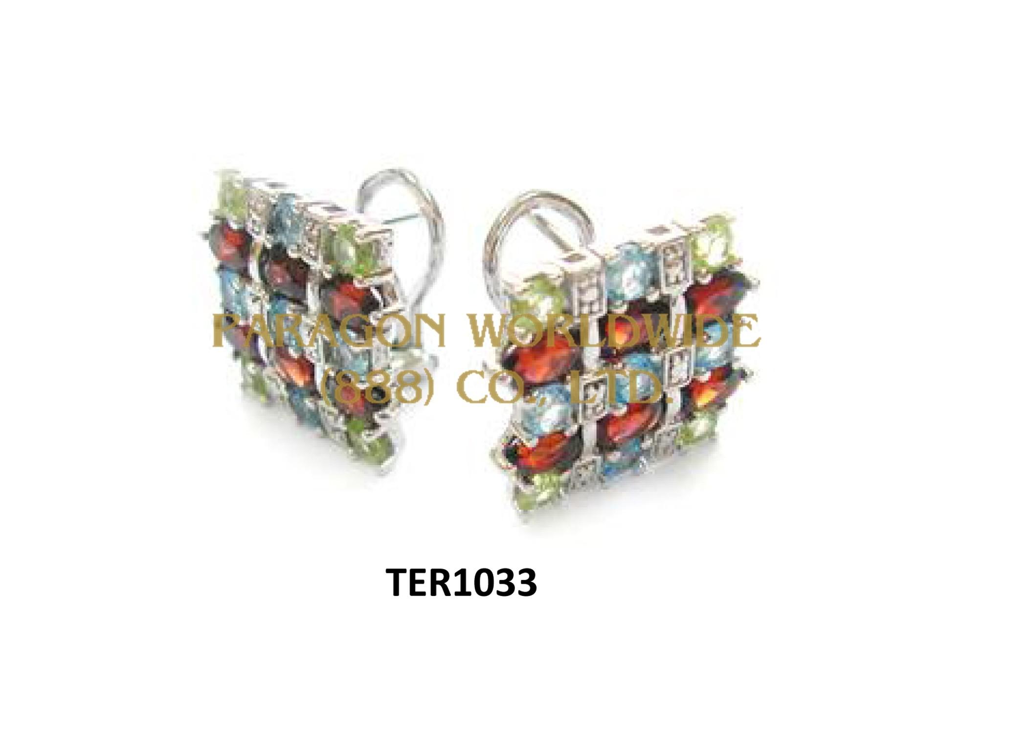 10K White Gold Earrings  Multi  and White Diamond - TER1033