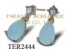 10K White Gold Earrings  Sea Blue Chalcedony and Tanzanite - TER2444