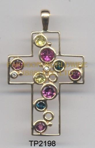 10K Yellow Gold Pendant   Multi and White Diamond - TP2198
