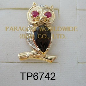 10K Yellow Gold Pendant  Ruby + Smoky Quartz and White Diamond - TP6742