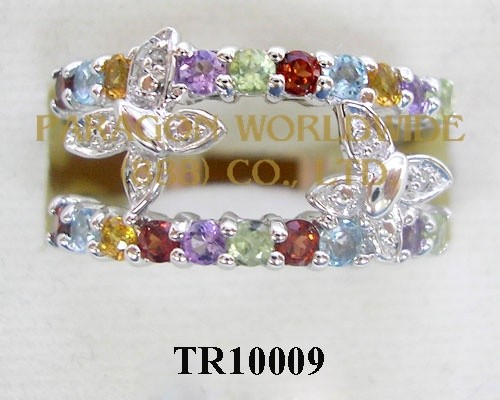 10K White Gold Ring  Multi and White diamond - TR10009