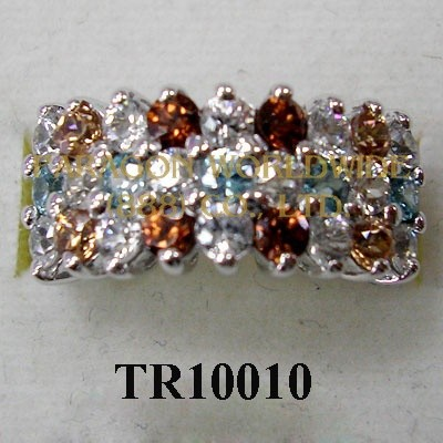 10K White Gold Ring  Multi Zircon - TR10010