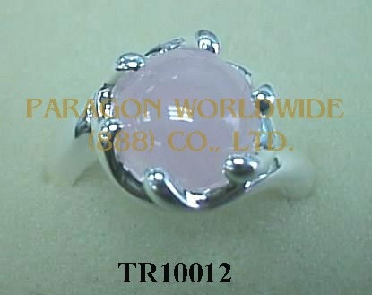 10K White Gold Ring  Rose Quartz -  TR10012