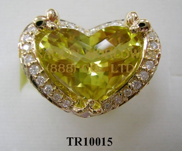 10K Yellow Gold Ring Lemon Quartz + Rhodolite and White Diamond - TR10015