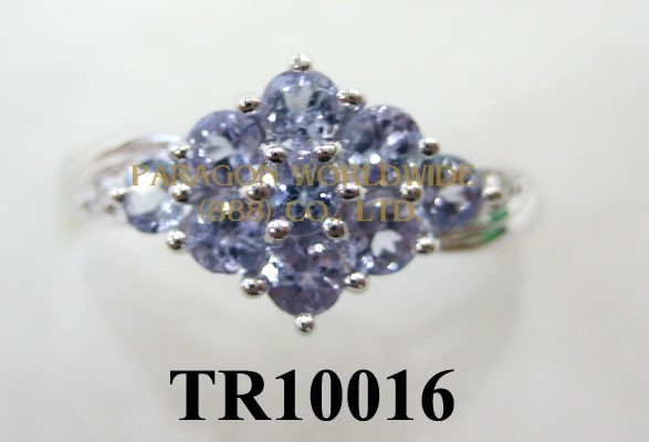 10K White Gold Ring  Tanzanite and  White Diamond  - TR10016