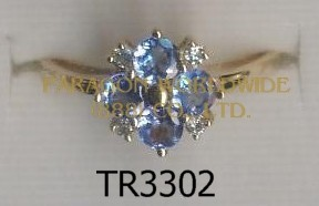 10K Yellow Gold Ring  Tanzanite and White Diamond - TR3302