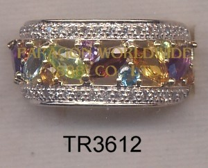 10K Yellow Gold Ring  Multi and White Diamond - TR3612
