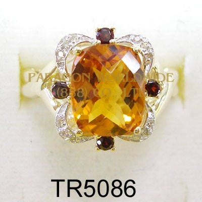 10K Yellow Gold Ring Citrine + Garnet and White Diamond - TR5086