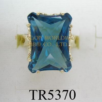 10K Yellow Gold Ring London Blue Topaz - TR5370