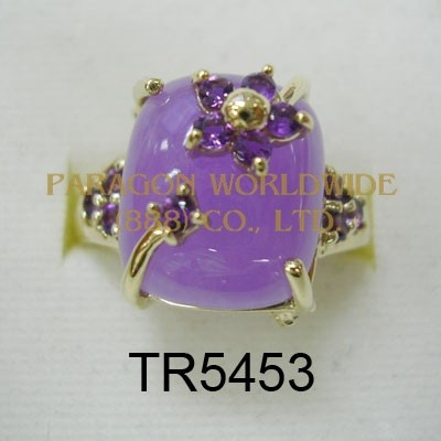 10K Yellow Gold Ring  Lavender Jade and Amethyst - TR5453