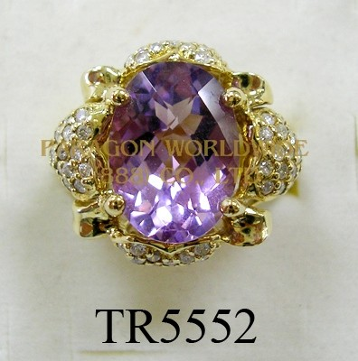 10K Yellow Gold Ring  Amethyst and White Diamond  - TR5552