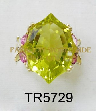 10K Yellow Gold Ring  Lemon Quartz + Pink Tourmarine and White Diamond - TR5729