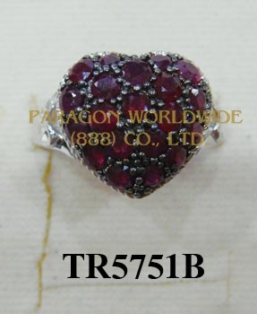 10K  White Gold Ring Ruby and White Diamond  - TR5751B