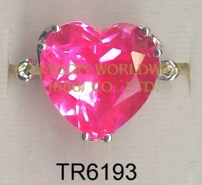 10K White Gold Ring Pink Topaz - TR6193