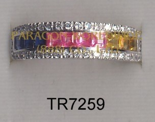 10K White Gold Ring  Multi  Sapphire and White Diamond - TR7259